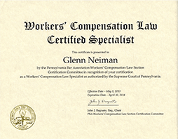 Glenn C. Neiman - Worker's Compensation Law Certified Specialist